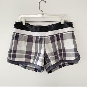 Lululemon Speed shorts black and white plaid check